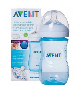 BIBERON PP NATURAL AVENT PHILIPS AZUL 260 ML