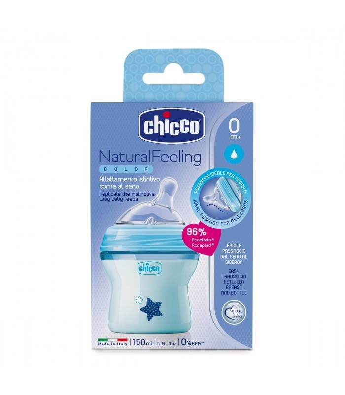 Chicco Biberón Natura Feeling Color Azul 0+ 150 Ml