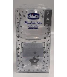 Chicco Biberon Plastico Silicona Edicion Navidad Flujo Medio 2M+  250 Ml