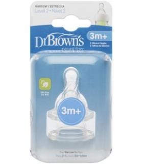 Dr Brown's Tetina Boca Estrecha Nivel 2 +3M