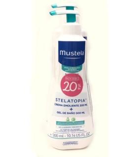 Mustela Stelatopia Pack Crema Emoliente 300 ML + Gel de Baño 500 ML 20% Dto