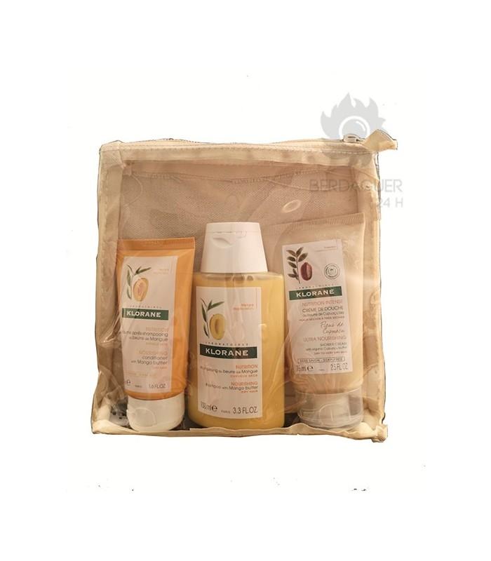 Klorane Pack Viaje Crema De Ducha Cupuaçu 75 ml + Balsamo Capilar Mango 50 ml + Champu Mango 100 ml