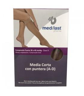 Medilast Media Corta Con Puntera Compresión Fuerte Talla Grande