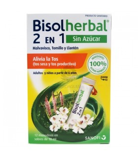 Bisoherbal 2 en 1 Alivia la tos 12 sobres de 10 ml