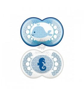 Chupete Latex Mam Original +6 M Pack Doble Azul